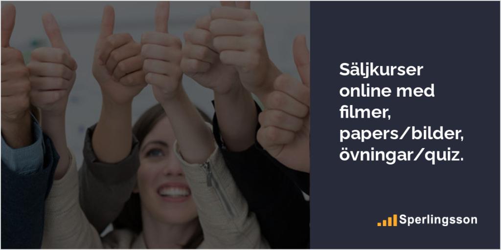 Säljkurser online med filmer, papers, bilder, övningar, quiz